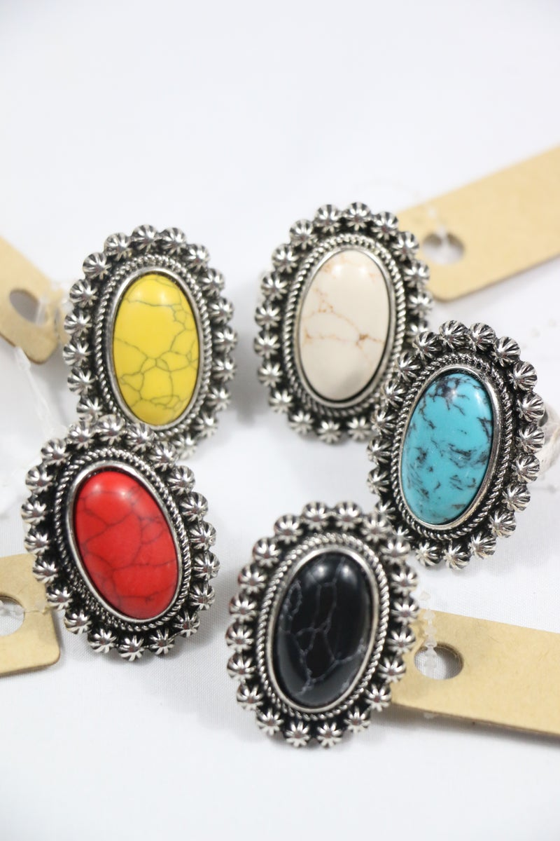 Just For You Silver And Oval Stone Stretch Ring In Multiple Colors