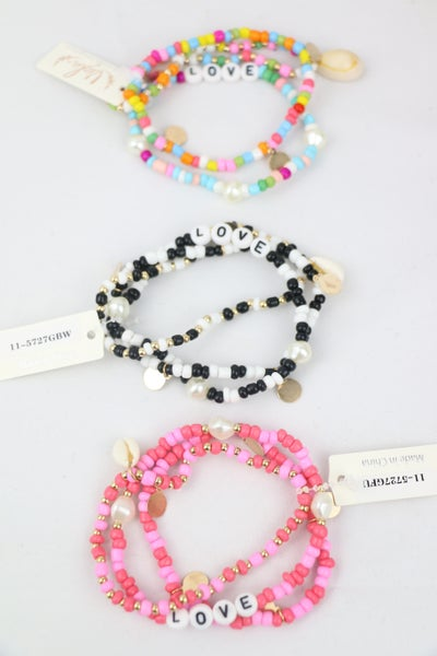 LOVE 3 Strand Beaded Bracelet With LOVE Beads And Puka Shell Charm In Multiple Colors