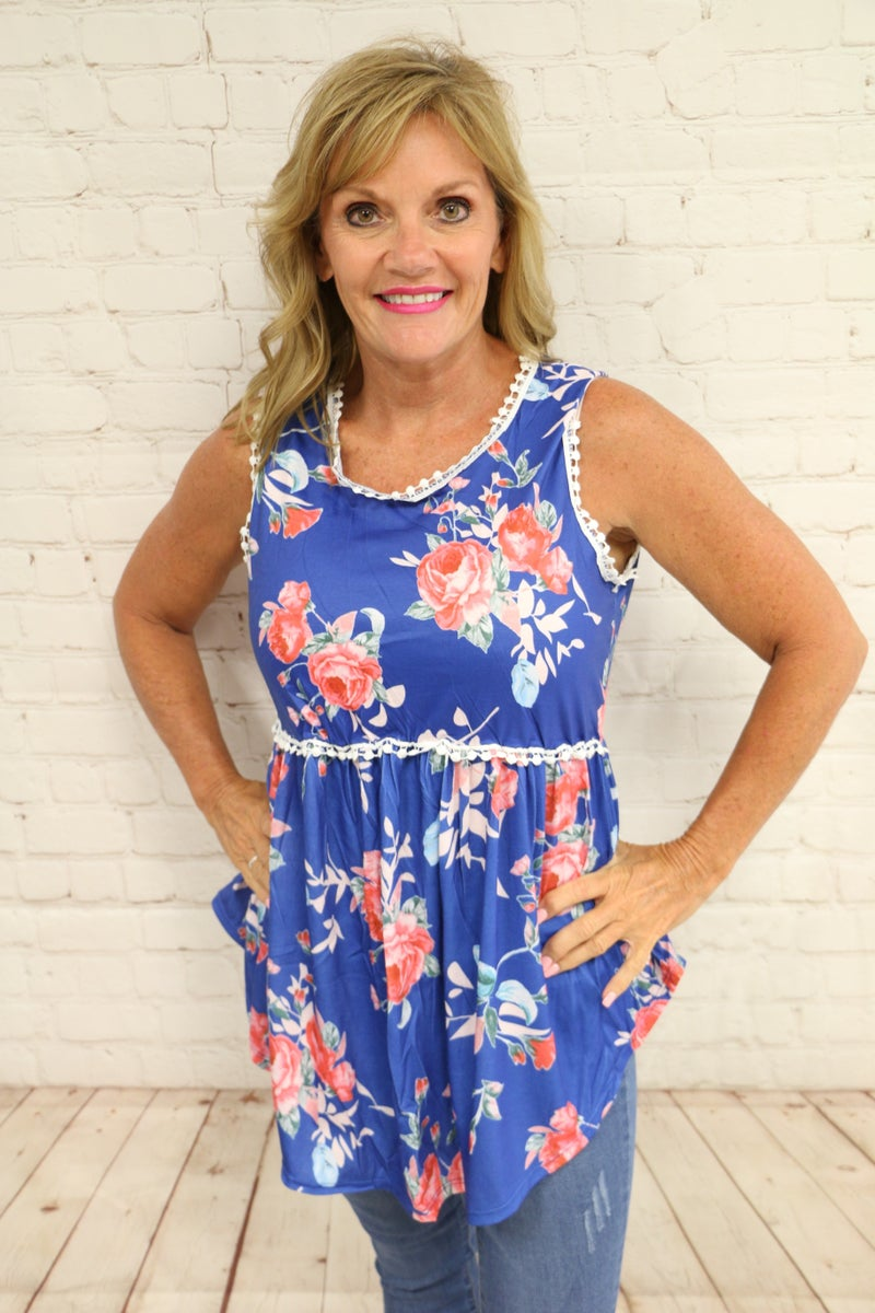 Find My Way Floral & Crochet Babydoll Top In Royal Blue- Sizes 4-20 ***FINAL SALE***