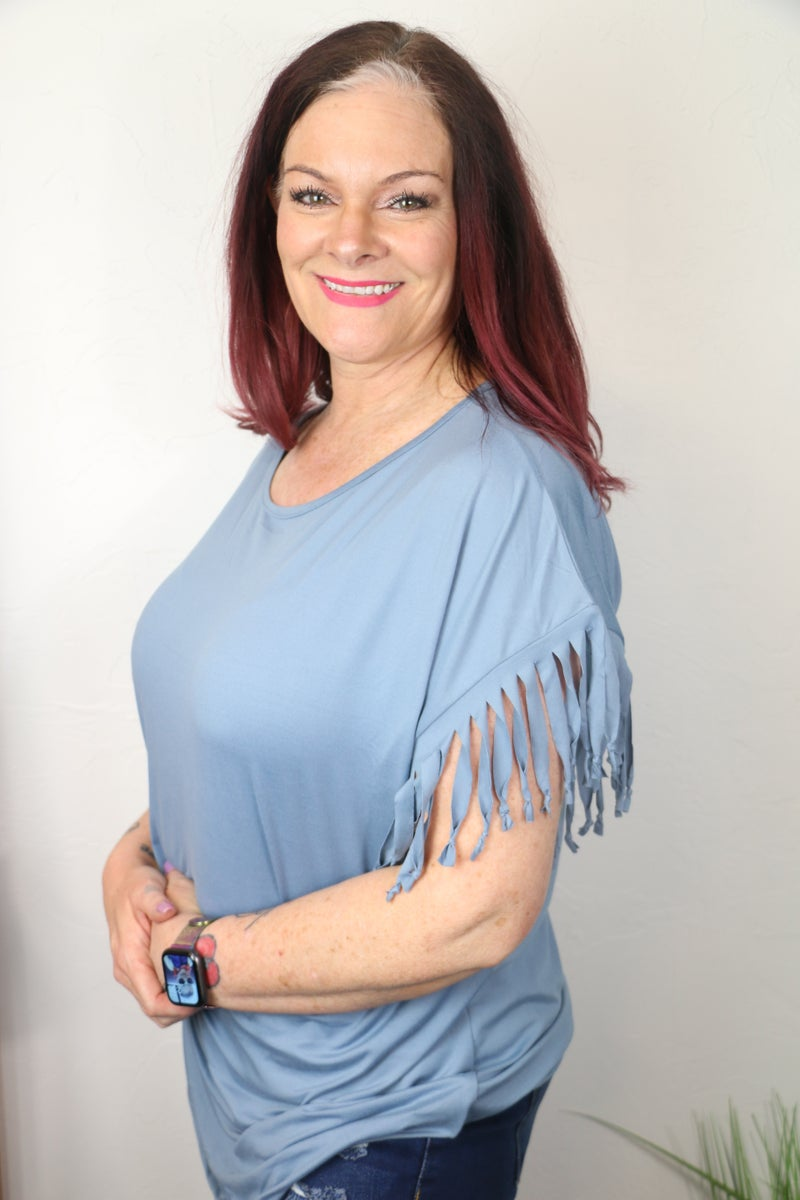 Bring Back the Good Times Basic Tee with Fringed Sleeve in Multiple Colors - Sizes 12-20