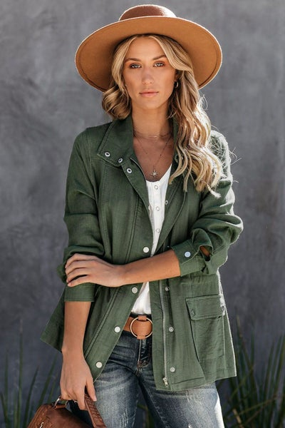 Rise Above Olive Mount Diablo Pocketed Linen Blend Utility Jacket - Sizes 4-20