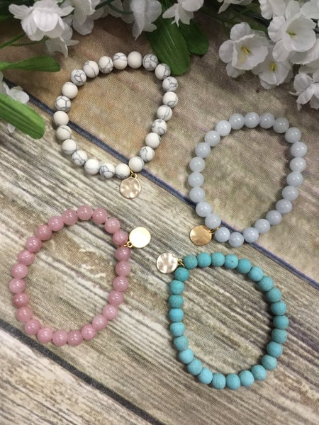 Like A Dream Beaded Bracelet With Hammered Charm- Multiple Colors