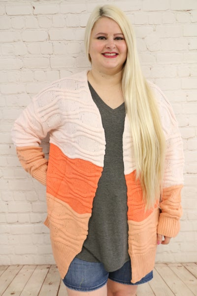 Truly Yours Colorblock Cable Knit Sweater Cardigan - Sizes 4-12