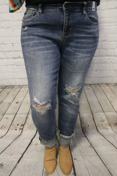 The Reba Cuffed Distressed Straight Leg Jeans - Judy Blue - Sizes 5-22