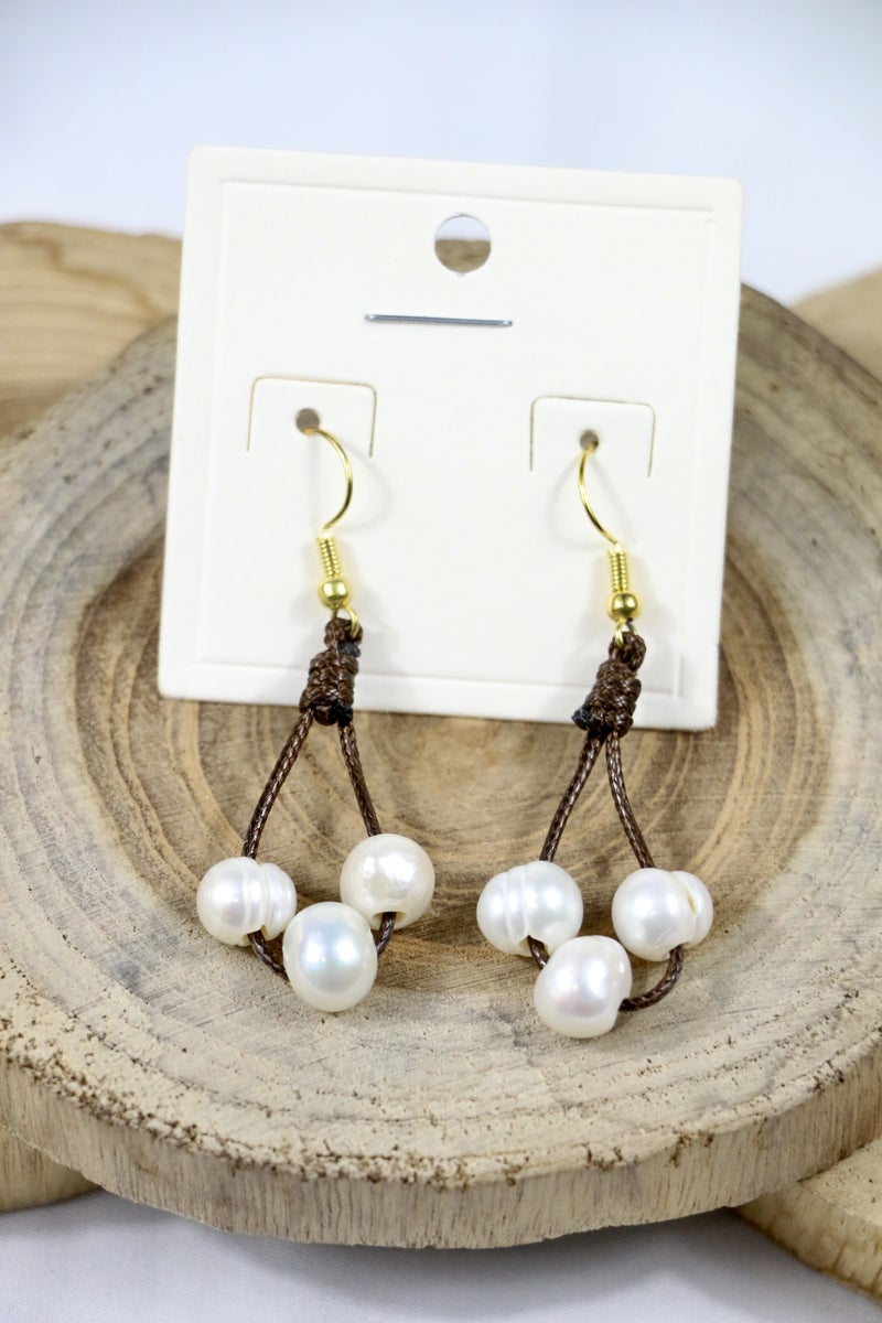 The Final Countdown Leather String Teardrop Earring With Pearl Beads In Multiple Colors