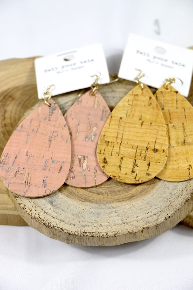 You're The One Large Cork Teardrop Earring In Multiple Colors