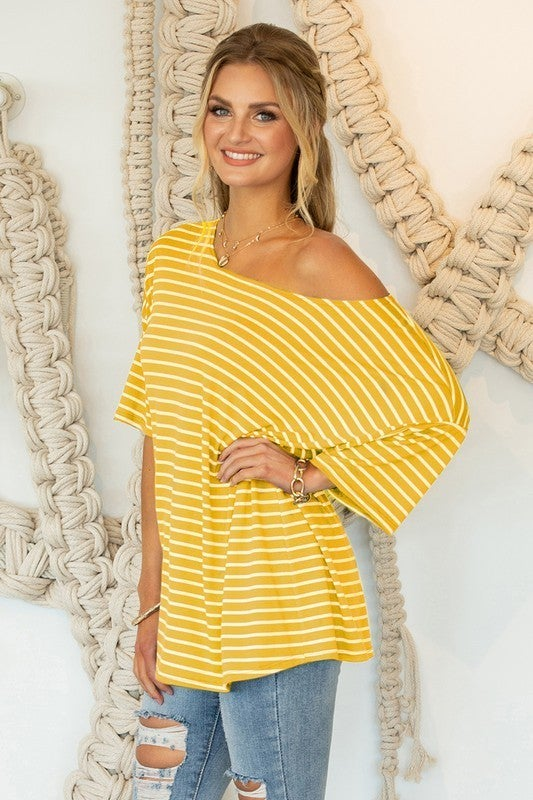 Altered State of Mind Oversized Striped Short Sleeve Top in Multiple Colors - Sizes 4-20