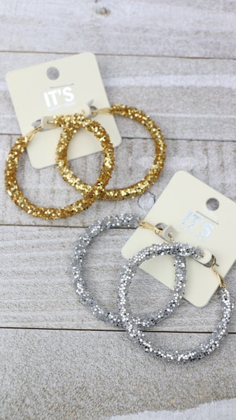 All That Shines Glitter Hoop Earring In Multiple Colors