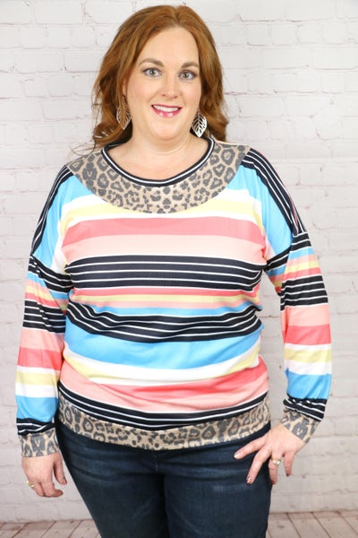 Winter Days Multicolor Striped Top With Leopard Accents- Sizes 4-20