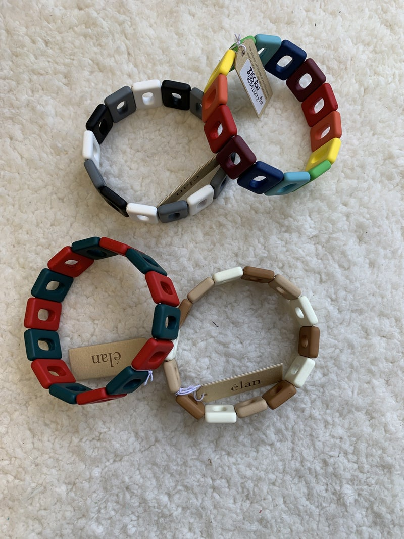 Throwback Silicone Covered Rectangle Stretch Bracelet In Multiple Colors