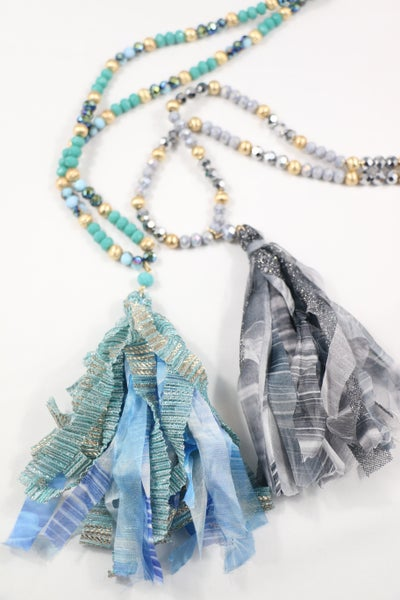 Walk The Line Long Beaded Metallic Tassel Necklace In Multiple Colors