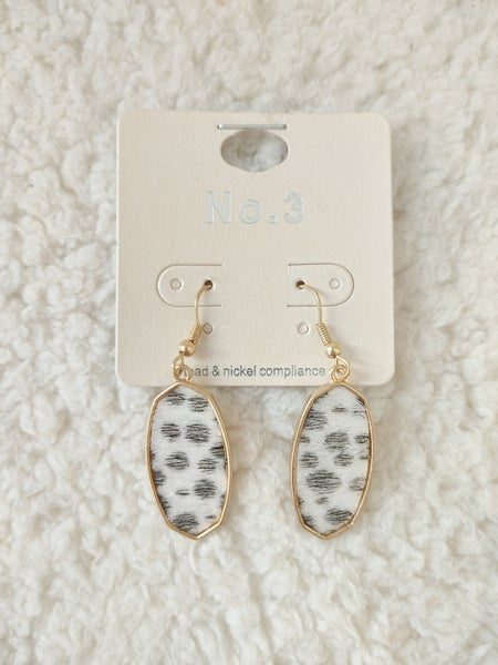 You've Been Spotted Oblong Dalmation Ponyhair Earring