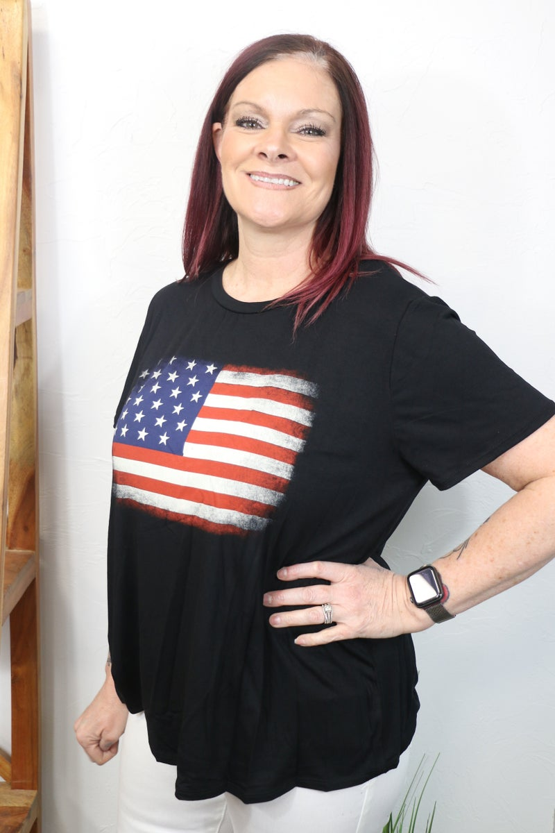 American Pride Black Tee with Distressed Flag - Sizes 12-20