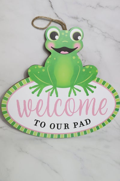 Welcome To Our Pad Frog  Wall Sign