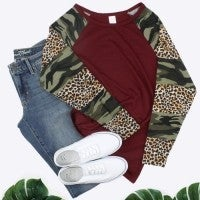 Walking on the Edge Camo and Leopard Long Sleeve Top in Multiple Colors - Sizes 4-20