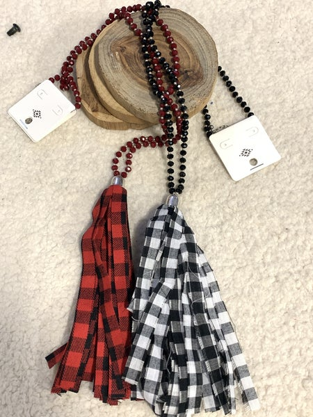On The Plains Long Beaded Necklace With Buffalo Plaid Tassel In Multiple Colors