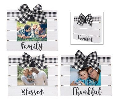 Wood Slat Board 4x6 Photo Clip with Buffalo Plaid in Multiple Prints