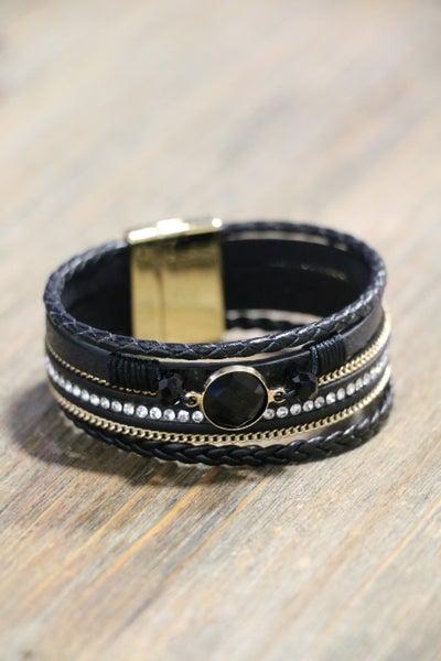 Winner Black Faceted Stone Multi-Strand Magnetic Bracelet