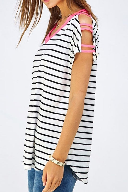 Moving On Striped Top with Strappy Neon Cold Shoulder in Multiple Colors - Sizes 4-10