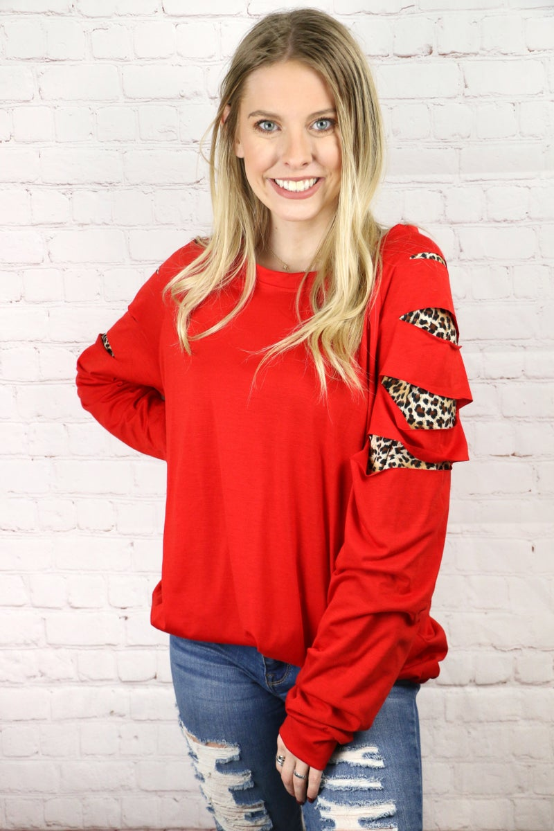 New Found Fun Long Sleeve Top with Leopard Cut Outs in Red - Sizes 4-20
