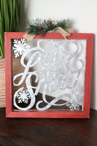 LET IT SNOW Red Wood Block With Metal Words And Snowflakes