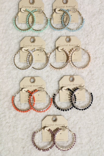 Way To Go Circle Glass Bead Hoop Earring In Multiple Colors