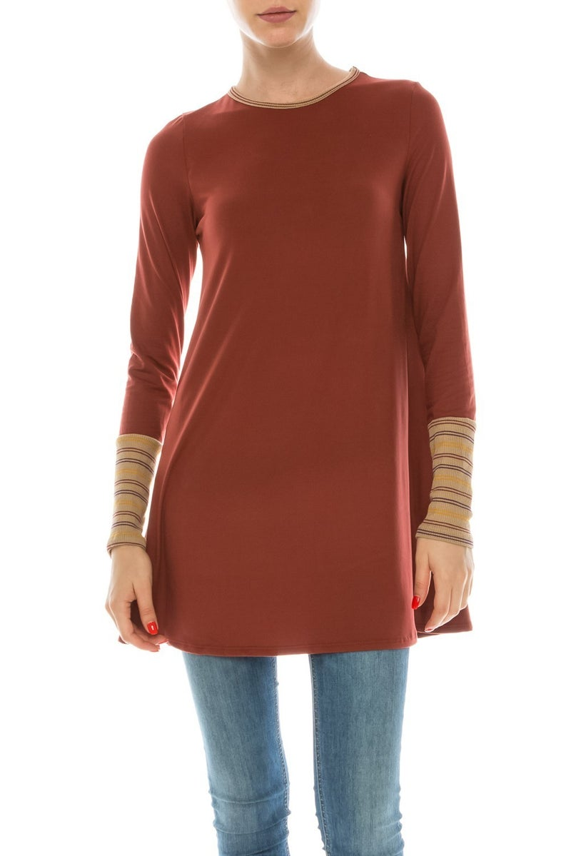 Who Will Be There Rust Colored Tunic with Contrast Sleeve - Sizes 4-10