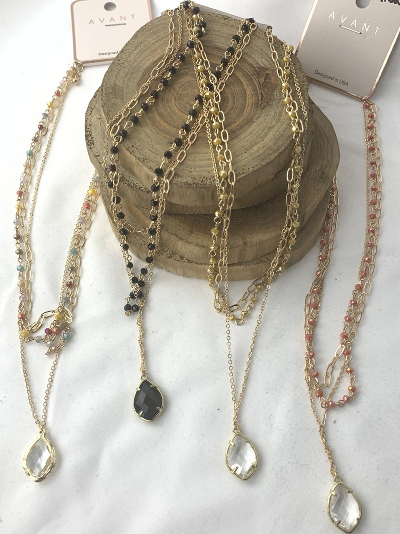 Triple Treat 3 Layer Beaded Necklace With Crystal Pendant In Multiple Colors