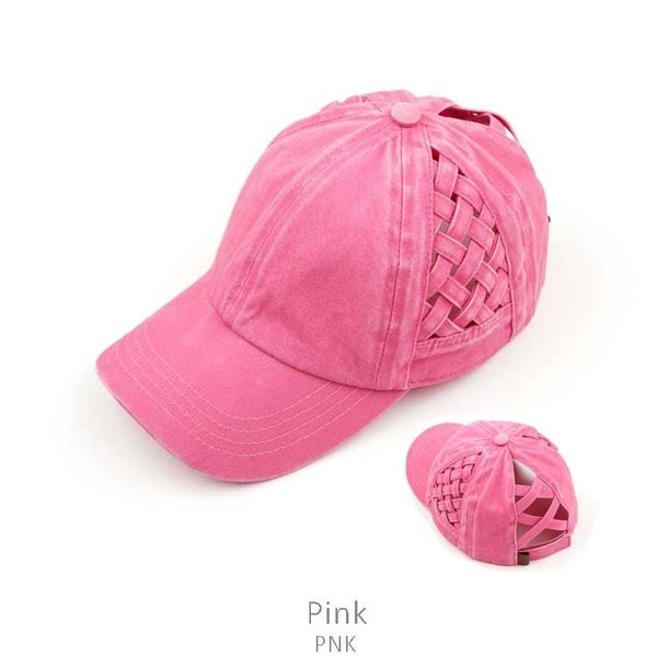 Always Moving CC Ponytail Baseball Cap with Criss Cross Detail in Multiple Colors