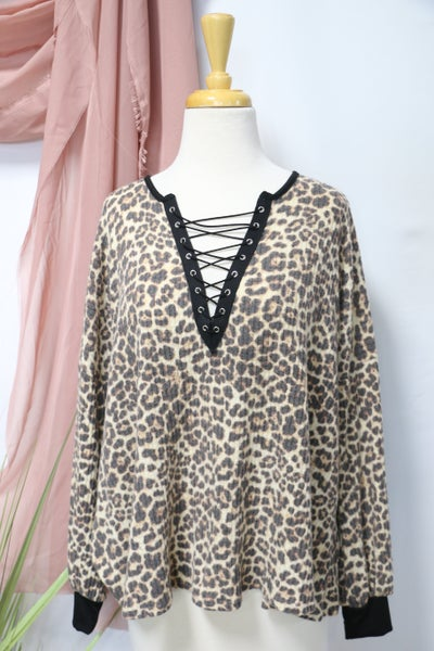 Taking My Time Leopard Lace Up V Neck Top- Sizes 4-12