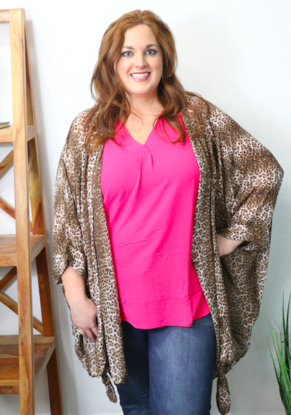 Our Love is Wild Leopard Knotted Front Detail Oversized Sheer Cardigan - Sizes 12-20