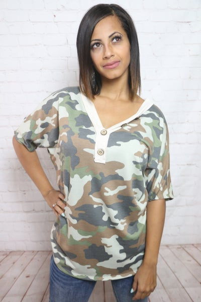 Can You See Me Now Camo Top with Buttons - Sizes 4-12