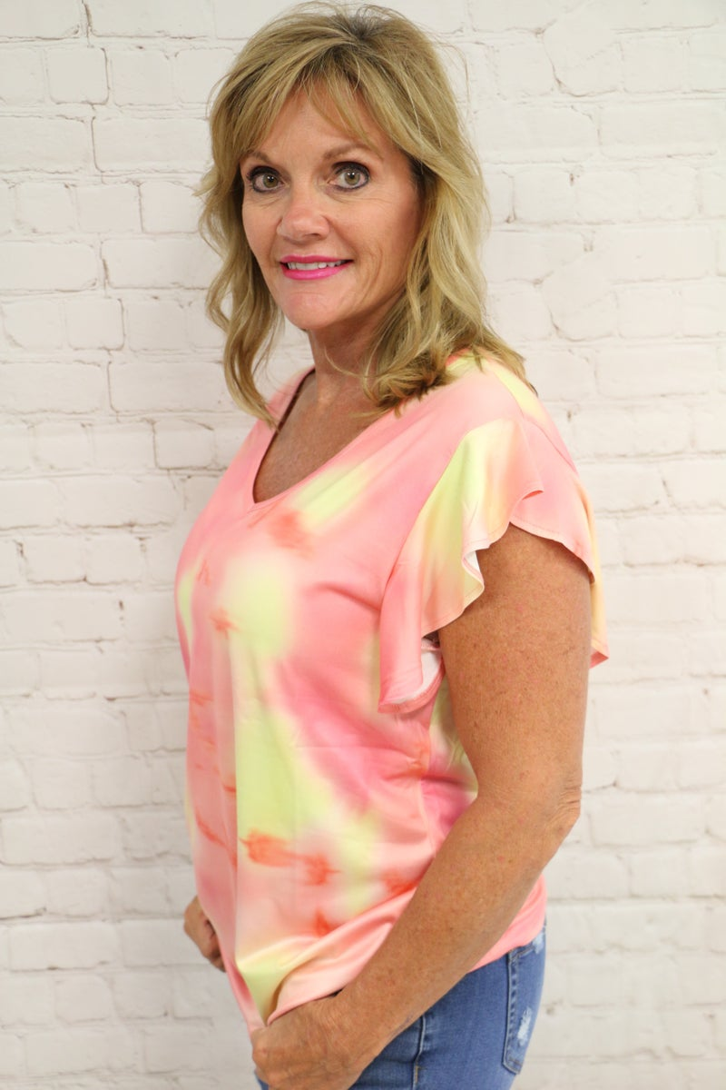 Own the Night Coral and Yellow Tie Dye Ruffle Sleeve Top - Sizes 4-18