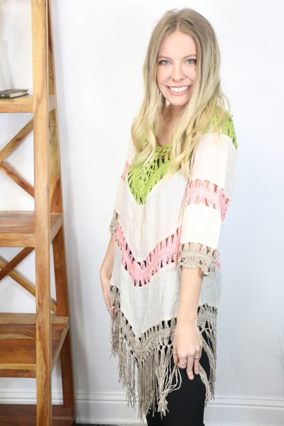 Falling For You Oatmeal Fringe Poncho with Olive and Pink Crochet Accents - One Size