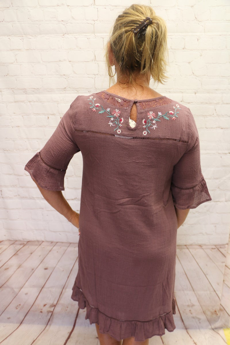 Lost in the Moment Mocha Dress with Embroidered Floral and Ruffled Hems - Sizes 4-10