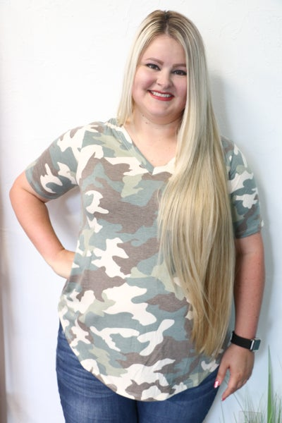 Super Soft Camo V-Neck Top in Multiple Colors - Sizes 4-20