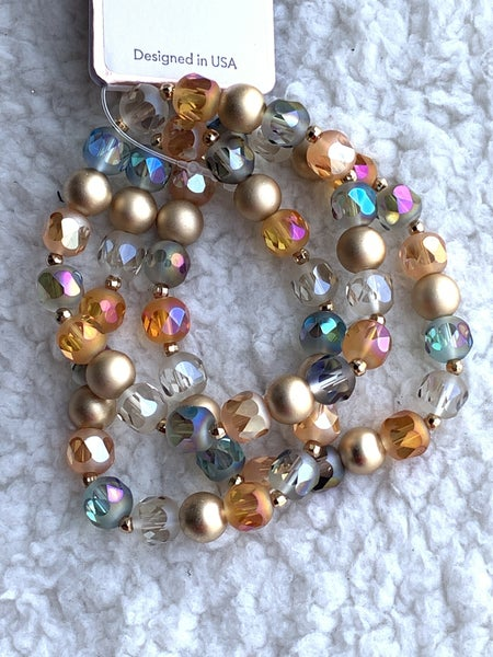 All The Things 3 Strand Multicolor Bead Stretch Bracelet