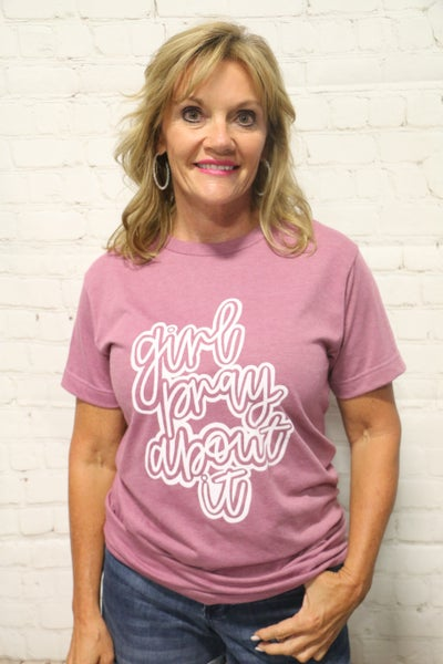 Girl, Pray About It Graphic Tee in Plum - Sizes 4-20
