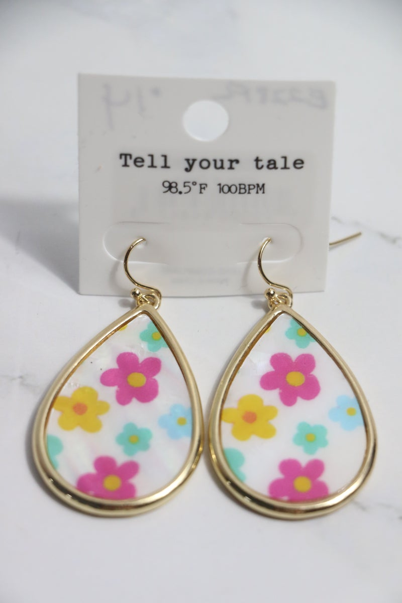 Spring Flowers Mother Of Pearl Teardrop Earring With Multicolor Flowers