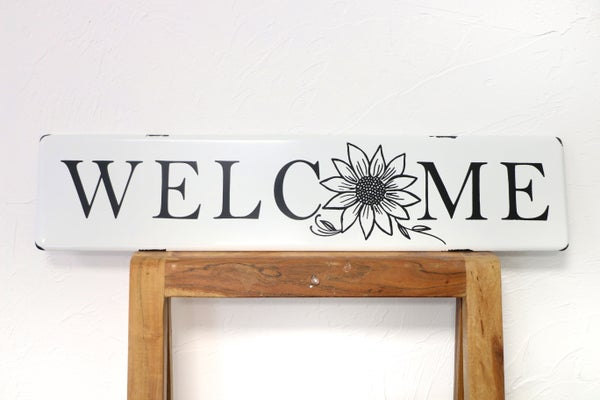 Metal WELCOME Wall Sign With Sunflower Detail