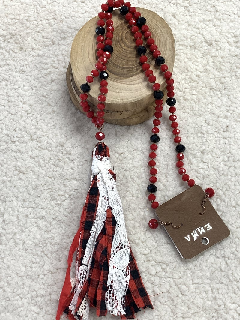 Santa Is Here Red And Black Crystal Necklace With Red Buffalo Plaid Tassel