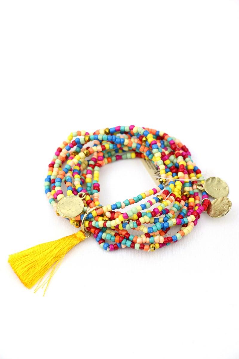 Be The Change  10 Strand Multi Seed Bead Bracelet With Mustard Tassel