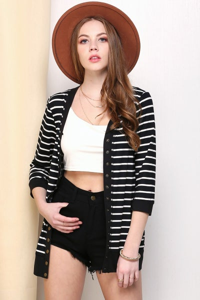 She's so Lovely Striped Three Quarter Sleeve Snap Button Cardigan in Multiple Colors - Sizes 4-12