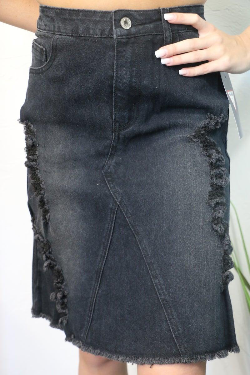 Wish You Were Here Black Distressed Denim Skirt - Sizes 4-12