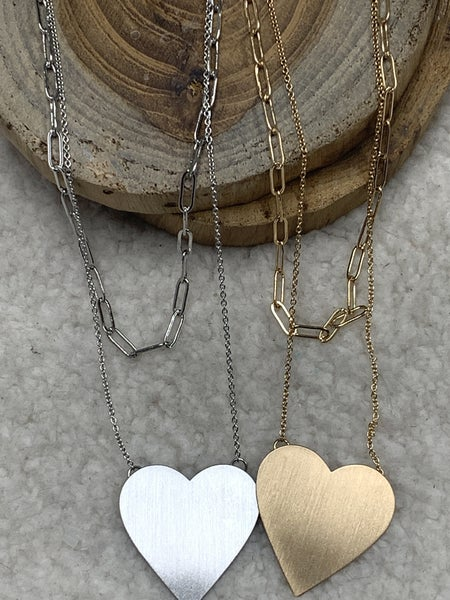 All My Love Double Strand Necklace With Metal Heart Pendant In Multiple Colors