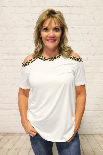 Look No Further Leopard Accented Cold Shoulder Top in Multiple Colors - Sizes 4-10