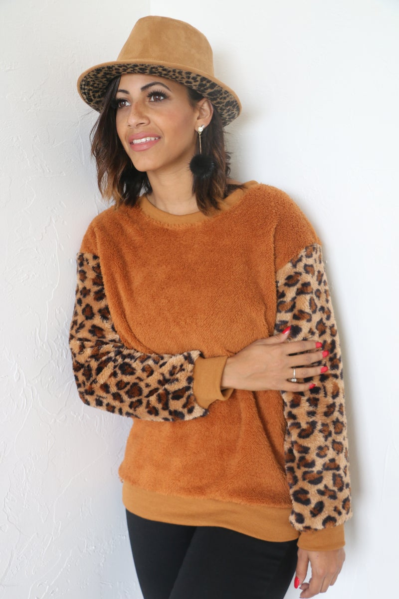 Thinking About You Sherpa Rust with Leopard Accent Sleeve - Sizes 4-20