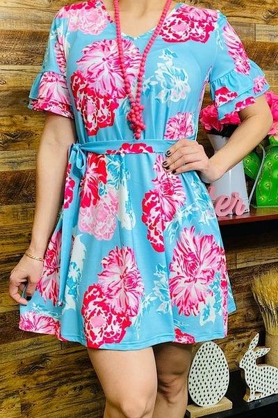 Forever Multi Floral Printed Aqua Short Sleeve Belted Dress - Sizes 4-20