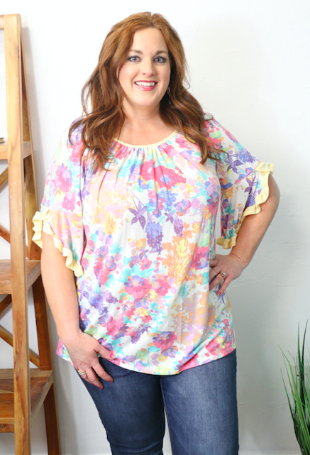 Find Your Faith Floral Top with Yellow Accents - Sizes 12-20