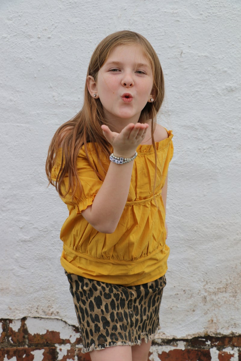 Little Jungle Princess Yellow Top and Leopard Skirt Kids Set - Sizes 6M - 8Y